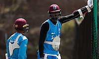 West Indies' Jason Holder during nets