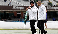 Elite Panel of ICC  - Umpire Aleem Dar on the pitch before play at Lord's