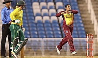 Anisa Mohammed bowling for the West Indies Women