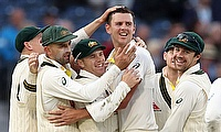 Australia's Josh Hazlewood celebrates taking the wicket of England's Jason Roy with team mates
