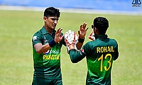 Naseem Shah celebrating a wicket with Rohail Nazir