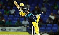 Leniko Boucher of Barbados Tridents keeps a yorker out