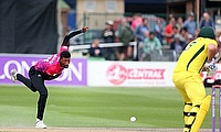 Abi Sakande bowls in Sussex Sharks' 2018 one-day tour match against the Australians