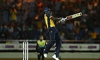 Daren Sammy captain of St Lucia Zouks hits a boundary