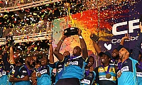 Jason Holder captain of Barbados Tridents lifts the Hero CPL trophy during the Hero Caribbean Premier League Final