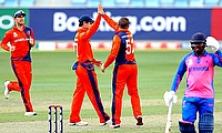 Roelof van der Merwe celebrate his wicket