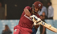 Nicholas Pooran hits a six during his 67 – which earned the Man-of-the-Match award.