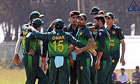 Pakistan players celebrating the dismissal of a Sri Lanka batsman