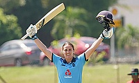 Nat Sciver celebrates her 85-ball hundred