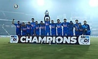 India celebrate winning the 3rd ODI