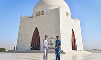 Northern captain Nauman Ali (left) and Central Punjab captain Babar Azam (right) pose with the Quaid-e-Azam trophy at Quaid's mausoleum-PCB