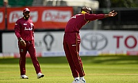Sheldon Cottrell celebrates a wicket