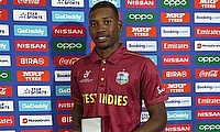 Nyeem Young of West Indies pictured with the 'Player of the Match' award