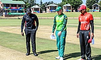 Bryce Parsons of South Africa and Ashtan Deosammy of Canada at the coin toss during the ICC U19 Cricket World