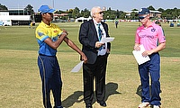 Angus Guy of Scotland, match referee Shaid Wadvalla and Navod Paranavithana of Sri Lanka
