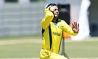 Tanveer Sangha of Australia during the ICC U19 Cricket World Cup Super League Play-Off Semi-Final match between Australia and Afghanistan
