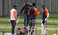 Prithvi Shaw with team mates during nets