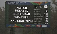 A scoreboard display the state of play during the ICC U19 Cricket World Cup 5th Place Play-Off match between West Indies and Australia