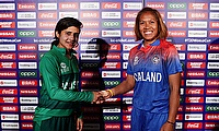 Captains Javeria Khan of Pakistan and Sornnarin Tippoch of Thailand shake hands after the match was drawn due to rain