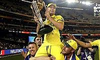 Australia's David Warner and Aaron Finch carry captain Michael Clarke on their shoulders after winning a record-extending fifth World Cup title