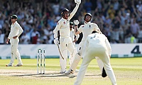 England's Ben Stokes and Jack Leach celebrate winning the tes