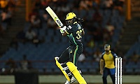 Chris Gayle of Jamaica Tallawahs hits four during the Hero Caribbean Premier League match between St Lucia Zouks and Jamaica Tallawahs