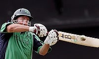 Ireland's Jeremy Bray hits a shot against Zimbabwe
