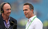 Former England captain Michael Vaughan (R) with Radio presenter Jonathan Agnew (L)
