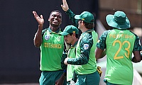 South Africa's Lungi Ngidi celebrates with team mates