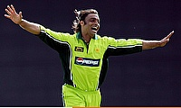 Shoaib Akhtar of Pakistan celebrates a wicket