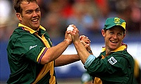 South Africa's Jonty Rhodes (R) with team mate Jacques Kallis