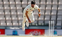 England v West Indies - July 12, 2020 England's James Anderson in full flight
