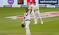Pakistan's Shan Masood celebrates his century