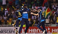 Jason Holder, Shai Hope and Harry Gurney of Barbados Tridents celebrate winning the Hero Caribbean Premier League Final 2019
