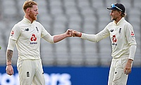 England's Ben Stokes and Joe Root at the end of play
