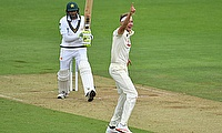 England's Stuart Broad celebrates taking the wicket of Pakistan's Mohammad Abbas