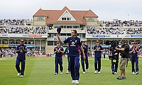 England's Stuart Broad (C) celebrates his five wicket haul
