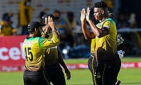 Jamaica Tallawahs celebrate a wicket