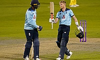 England's Sam Billings celebrates a century with Jofra Archcer