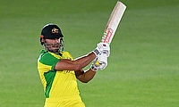 Australia's Marcus Stoinis in action against England