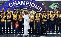 Triumphant Kabul Eagles with the trophy