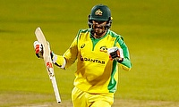 Australia's Mitchell Starc celebrates winning the match
