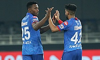 Kagiso Rabada and Shreyas Iyer (Captain Delhi Capitals) celebrate