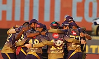 Kolkata Knight Riders make a huddle before the start of the match