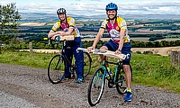 Craig Wallace (R) and Ali Evans (L) are cycling for brain tumour research.