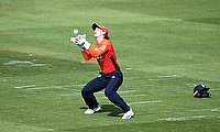 England's Amy Jones catches out Australia's Alyssa Healy