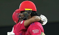 Mayank Agarwal and Chris Gayle celebrate