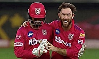 Lokesh Rahul and Glenn Maxwell celebrate