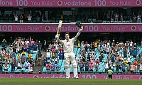 Steve Smith celebrates his hundred at the SCG