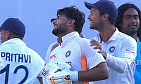 Rishabh Pant celebrates the win